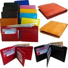 Genuine Eel Skin Leather Billfold Wallet Coin Card Purse Men's Purse #Handmade #Bifold