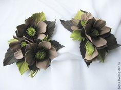 """Купить Комплект брошь и заколка """"Бежевый"""" - бежевый, коричневый, оливковый, цветы из фоамирана, украшения с цветами"""