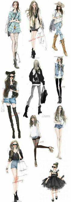 Design Illustration Girl Fashion Sketches Ideas For 2019 Illustration Mode, Fashion Illustration Sketches, Fashion Sketches, Croquis Fashion, Fashion Art, New Fashion, Trendy Fashion, Girl Fashion, Indian Fashion