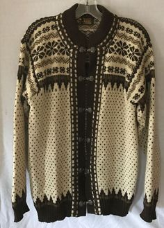 NORLENDER L Classic Norwegian cardigan Wool Sweater traditional PEWTER brown EUC  | eBay