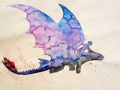 Hiccup and Toothless watercolour !