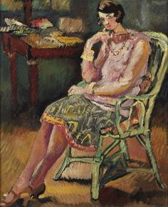 Woman Seated in Green Armchair. Louis Valtat