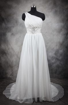 A really elegant one-shoulder wedding gown made from light chiffon with pretty beading and ruching. Beading Belted Ruching Light Chiffon Wedding Gown Style Code: 11537 $154 Order this wedding dress right here: http://www.outerinner.com/beading-belted-ruching-light-chiffon-wedding-gown-pd-11537-0.html #WeddingDress #WeddingGown #OuterInner