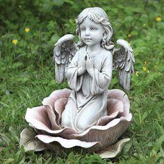 Napco Praying Angel Child With Solar Head Wreath 10 x 15.75 Resin Garden Figurine
