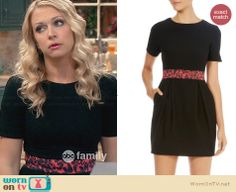 Melissa's black short sleeved dress with red leopard print waist on Melissa and Joey. Outfit Details: http://wornontv.net/31353/ #MelissaandJoey