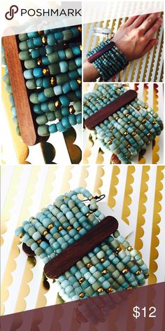 Turquoise Beaded Wide Boho Bracelet Multi-color beaded boho bracelet. Metallic gold and blues layered row by row. Elastic. Stretches over wrist. Wide styling. New with tags. Pinkhouse Jewelry Bracelets
