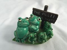 "Vintage Green  FROGs Miniature on Lilly Pad Plastic sign ""the pill what's that? by StudioVintage on Etsy"