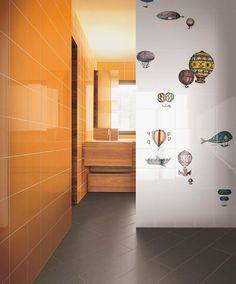 piastrelle ceramiche linea Macchine volanti 1, designer Piero Fornasetti.