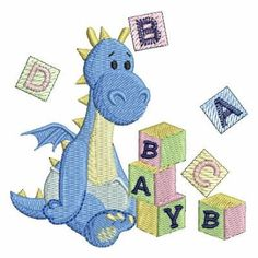 Cute Baby Dinosaur embroidery design, would look lovely on a baby quilt