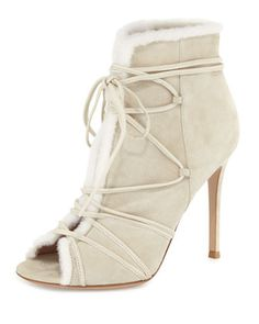 Shearling Fur-Trimmed Lace-Up Peep-Toe Bootie by Gianvito Rossi at Bergdorf 2b21575aec7e