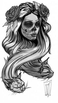 Catrina - day if the dead - sugar skull - pencil drawing.
