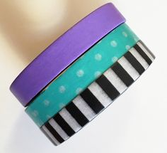 3 piece Skinny Washi Tape Black/White Stripe, Aqua/White Polka Dots and Purple each roll is 8mm x 10m by PinkSunshineSupplies on Etsy