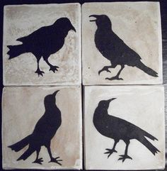 Crow Coasters - Prim - Kinda rustic, kinda primitive, these crows are so fun... each unique... the finishes come out different on each one.