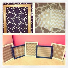 Old frames + gift bags + spray paint = mini whiteboards for your home, office, or classroom!