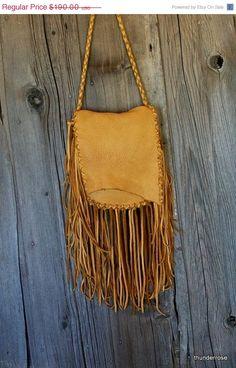 ON SALE Fringed crossbody handbag Buckskin leather by thunderrose, $152.00