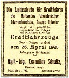 Original-Werbung/ Anzeige 1926 - LEHRSCHULE FÜR KRAFTFAHRER - SCHULTZ - MÜNSTER - ca. 60 x 75 mm