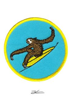 Surfing Sloth Embroidered Patch