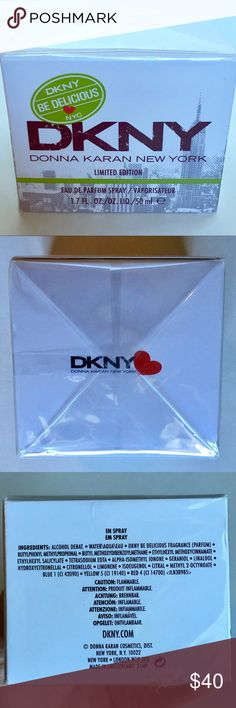 DKNY Be Delicious Perfume Limited Edition NYC NWT Brand new unopened 1.7 oz (50 mL) bottle of DKNY Be Delicious limited edition (NYC) perfume. I love the clean apple scent! While this is brand new, there is a dent on the bottom of the box as pictured. Would make a great gift!! Make an offer! 💙 Dkny Other