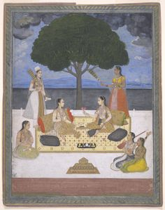 A musical gathering. Opaque watercolor and gold on paper, India, Mughal, 17th century
