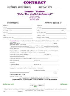 Free and Printable Disc Jockey Contract Form - RC123.com - d j ...