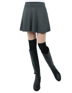 Doublju Women`s Flared Short Skirt