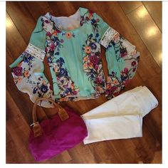 These white jeans, floral top and bright bag would be a perfect way to embrace spring!