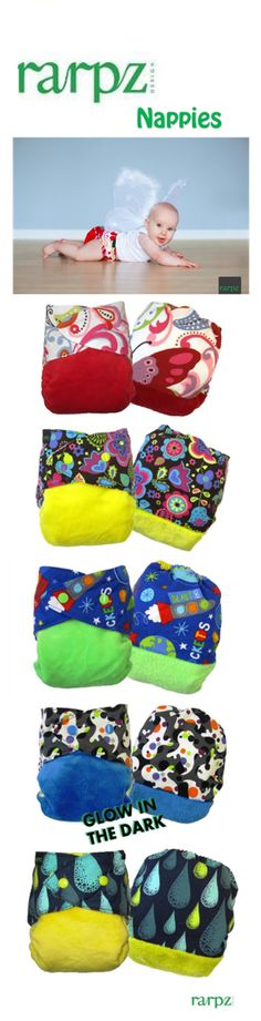 You and Baby - Rarpz nappies, $34.00  Cute as a baby's bottom pocket nappies! Boys, girls and unisex designs that are super easy to use, a big money saver and great for the environment.   http://www.youandbaby.com.au/brands/Rarpz-Designs.html