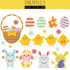 Cute Happy Easter Clip Art Set on Pineapplely Store!