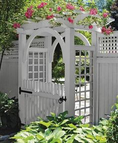 Garden Arbor With Arch and Walk Gate   Wood Arbors, Vinyl Arbors from Walpole Woodworkers