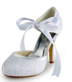 """Elegant Women's Wedding Shoes With Lace and Bow Design As our wedding shoes is customized, so it will take 9-11 business days to make your shoes by professional shoemaker. Pumps Type: Ankle-Wrap  Toe Style: Closed Toe  Toe Shape: Round Toe  Shoe Width: Medium(B/M)  Heel Type: Stiletto Heel  Heel Height Range: High(3-3.99"""")  Embellishment: Bow  Occasion: Wedding  Upper Material: Lace  Lining Material: PU  #laceweddingshoescheap #laceshoes #weddingshoes #cheapshoes #bridgat.com"""