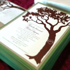 Wedding Invitations Carved Tree Design with RSVP by LassodMoon, $5.25
