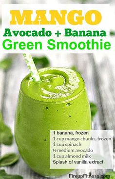Mango Avocado Green Smoothie for Weight Loss #weightlossbeforeandafter