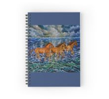 Spiral Notebook,  stationery,school,supplies,cool,unique,fancy,trendy,awesome,beautiful,design,unusual,modern,artistic,for sale,items,products,office,organisation,blue,horses,equine,wildlife,animals,sea.waves.redbubble