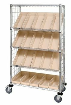 Chrome Slanted Wire Shelving Enclosure Plastic Bin Cart   All Sizes By  Quantum. $375.66. Plastic ShelvesPlastic BinsKitchen RackKitchen ...