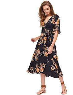03da91e4878 Milumia Women s Boho Deep V Neck Floral Chiffon Wrap Split Long Dress Black  XL Rayon Half Sleeve