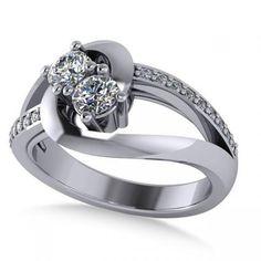 Diamond Split Shank Two Stone Ring 14k White Gold (0.68ct) - Allurez