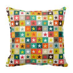 retro boxed stars pillow #cushion #pillow #zazzle #scrummy #stars #geometric #pattern #funky #cool #pillow #cushion