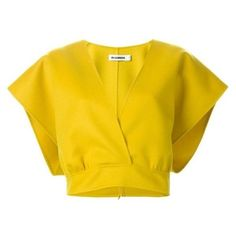Jil Sander Cropped Wrap Top ❤ liked on Polyvore featuring tops, crop top, cut-out crop tops, jil sander, wrap crop top and yellow top