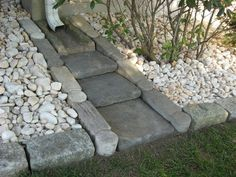 Stone Rain Gutter Splash Block- a stepped look that blends in!