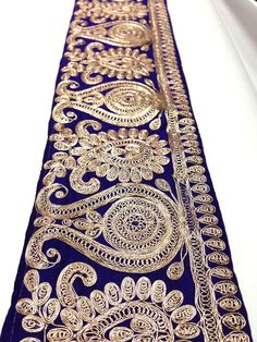 PURPLE GOLD FABRIC TRIM FLORAL EMBROIDERED SEWING LACE SARI BORDER 1 YARD TR373