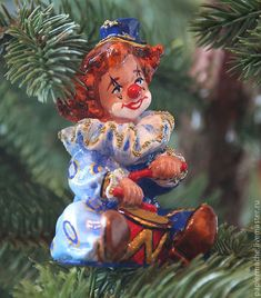 Clown Christmas Tree decoration | Елочные игрушки, папье маше, Клоун фигурка, статуэтка, купить – купить в интернет-магазине на Ярмарке Мастеров с доставкой