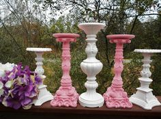 Pink and white shabby chic candles