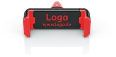 fixxo Universal KFZ-Handyhalter als Werbeartikel in individueller Farbgebung, hier mit roten Silikon-Backen und Logo-Druck