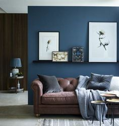 what paint to choose for the living room decor, navy blue living room wall color, interesting decor, brown sofa Article Gallery Ideas] Living Room Decor Colors, Room Wall Colors, Living Room Color Schemes, Interior Design Living Room, Living Room Designs, Brown And Blue Living Room, Brown Couch Living Room, Living Room Paint, Home Living Room