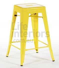 Replica Tolix Counter Stool - Yellow $109 - nice red and yellow contrast! must fit under kitchen unit with more space than current stools for legs!