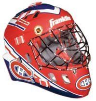 "Montreal Canadiens Franklin Mini Goalie Mask by Franklin. $26.83. This collectible miniature Montreal Canadiens goalie mask features an authentic pro-style mask/cage design with molded plastic vented shell with foam liner, a chrome finish ""cat-eye"" welded steel cage, full function adjustable back plate, and an approximate mask size of 5"" x 4"". The mini's have the same graphics as the full size series shown, with the exception of the Franklin/ NHL® logo on forehead area (on the m..."