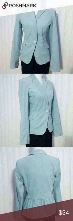 Light Blue Talbots Fitted Velvet Cotton Blazer Soft Material Blazer made from cotton for the shell of blazer.  Body lining is polyesters with Black and white paisley design as seen above.  Features one button in the front, ruffle back and 2 front flap as faux pockets.  Light Blue in color. 😁😁😁 Talbots Jackets & Coats Blazers