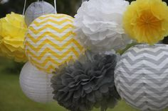 8 pieces Mix  CHEVRON GRAY &  YELLOW paper  lantern tissue paper  pompom// wedding//nursery decor// baby bridal shower// gender reveal on Etsy, $35.95