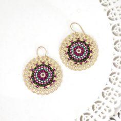 Pink and Green Beaded Mandala Jewelry Sets Big Earrings, Circle Earrings, Round Earrings, Beaded Earrings, Etsy Earrings, Beaded Jewelry, Bead Jewellery, Chain Earrings, Etsy Jewelry