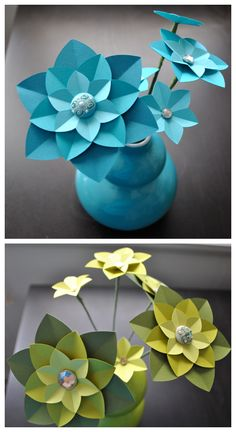Paper flower centerpieces- Downloadable DIY Tutorial from Ashley Hairston ... http://tinyurl.com/c6m44zk